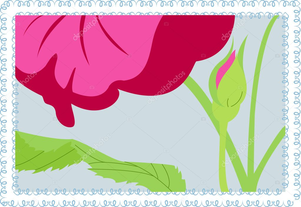 Vector pink flower on blue background  Stock Vector #2720557