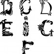 Antique curl letters - Image vectorielle