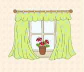 Window with curtain. Vector illustration — Stock Vector