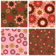 Four floral background pattern — Stock Vector