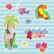 Summer stickers. Scrapbooking — Stock Vector