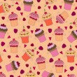 Seamless wallpaper pattern with muffins — Imagen vectorial