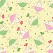 Seamless wallpaper pattern with muffins — Stok Vektör