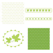 Green leaves for scrap-booking. — Stock Vector