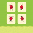 Vector card with four ladybugs — Stock Vector