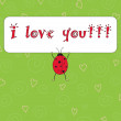 ストックベクタ: Vector cute card with ladybug