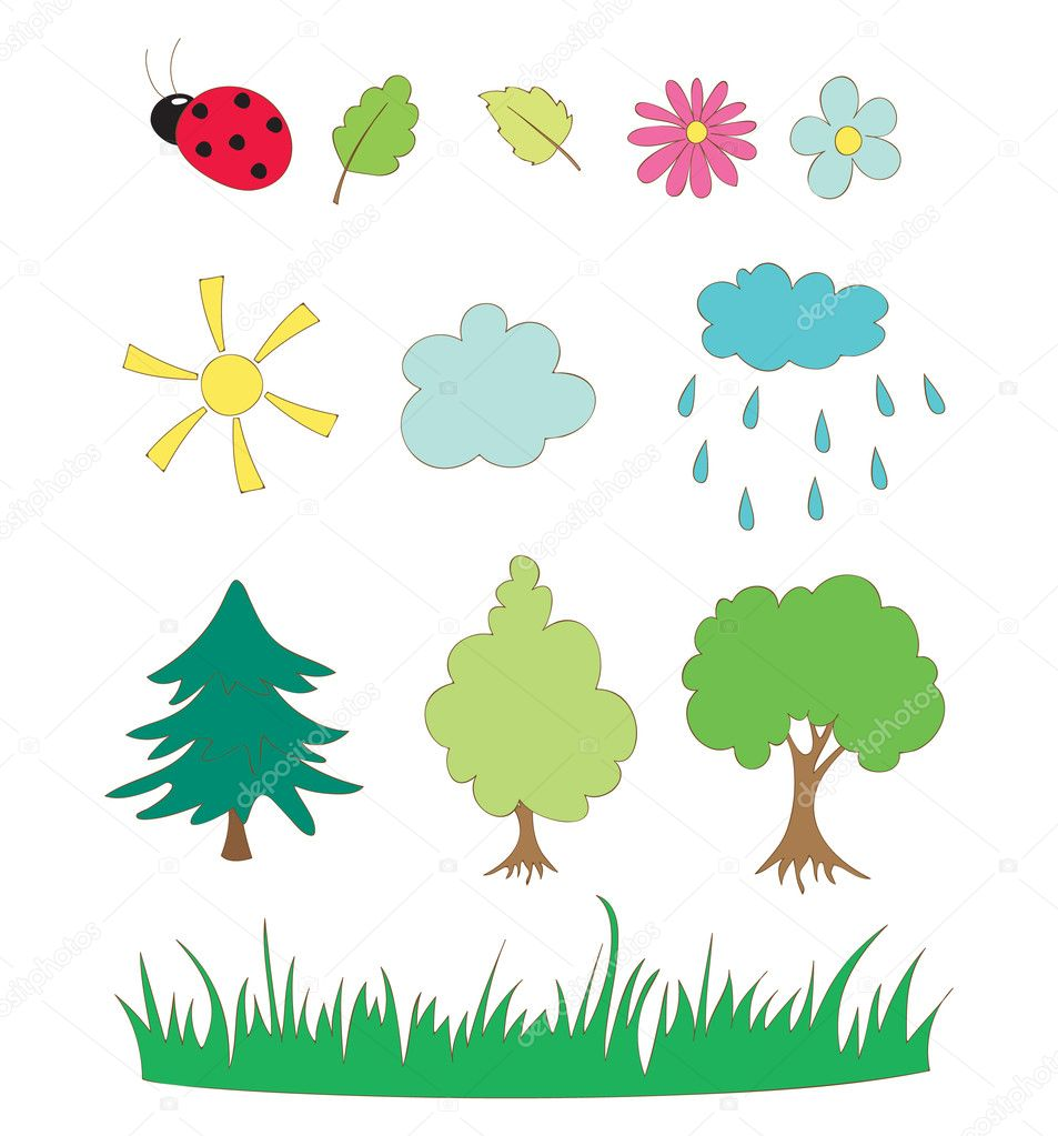 Nature Hand Drawing Vector Hand-drawing Elements