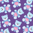 Seamless wallpaper with teddy bear — Imagen vectorial