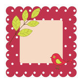 Vector card with bird and leaves — Stock Vector