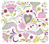 Vector floral doodles — Stock Vector