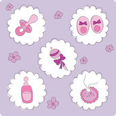 Baby elements for girl — Stock Vector