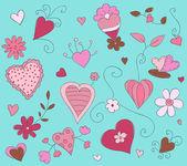 Mão floral ilustração vetorial desenhada — Vetorial Stock