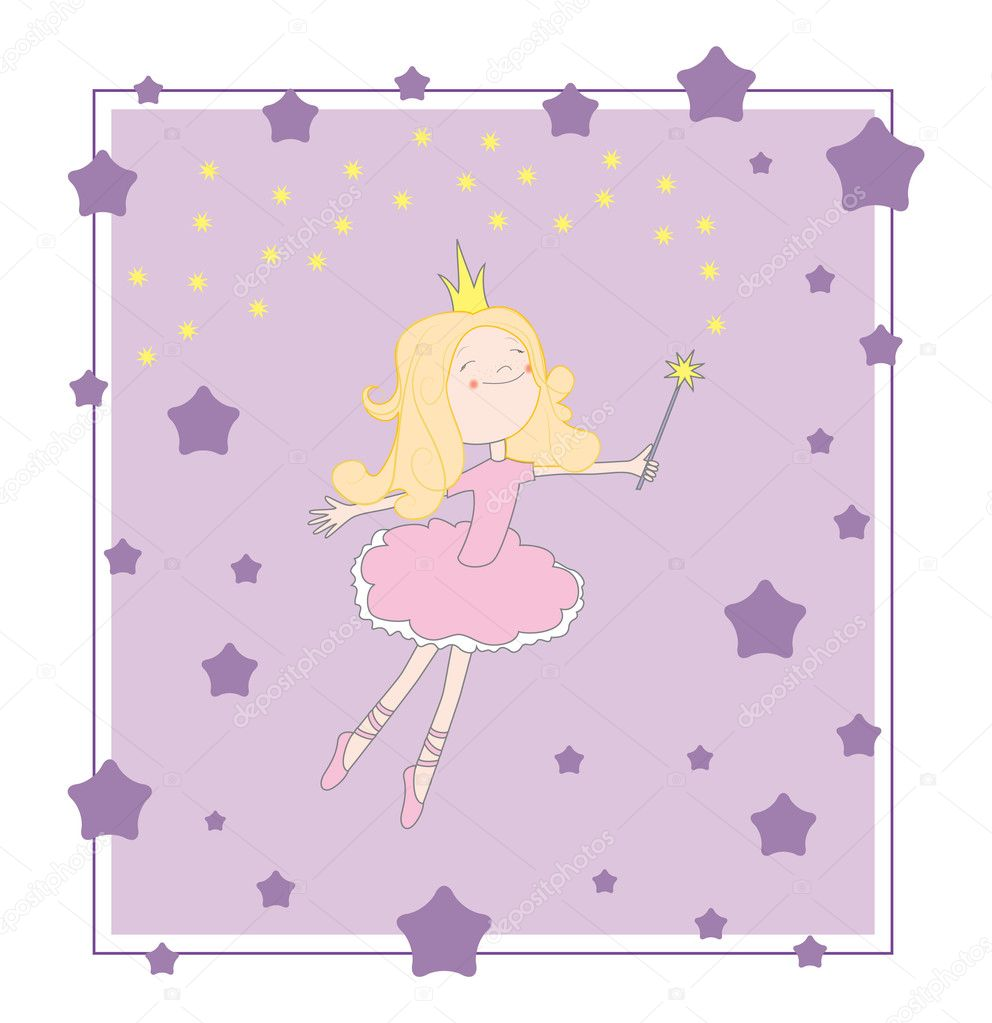 Princess vector purple card  Stock Vector #3689707