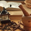 Stock Photo: Wooden mortar and spices