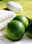 Soap on towel — Stock Photo