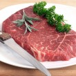 Steak on white plate - Foto de Stock
