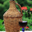 Demijohn red wine — Stock Photo