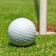 Golf ball ot the hole - Stockfoto