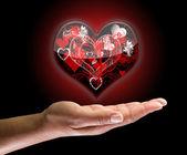 Heart shape on the hand — Stock Photo