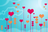Blue background with hearts — Stock Photo
