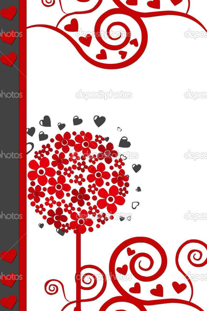 Vector illustration of love card with hearts and flowers — Stock Photo #2760777