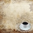 White coffee cup on old  grange paper - Stock Photo