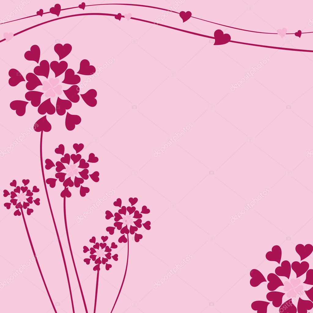 Decorated background for marriage or Valentine Day with flowers from hearts  Stock Photo #3048783