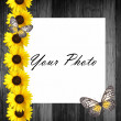 Royalty-Free Stock Photo: Wooden  frame with sunflowers