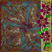 Pozadí se hranice s krajkou a květiny a indické textury — Stock fotografie