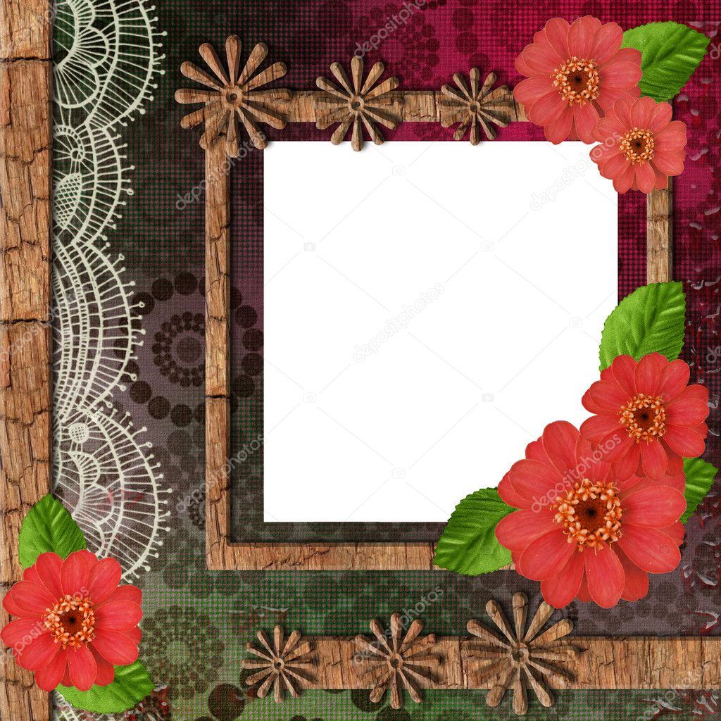 Album with wooden frame,  flowers  and ornate lace — Stock Photo #3476237
