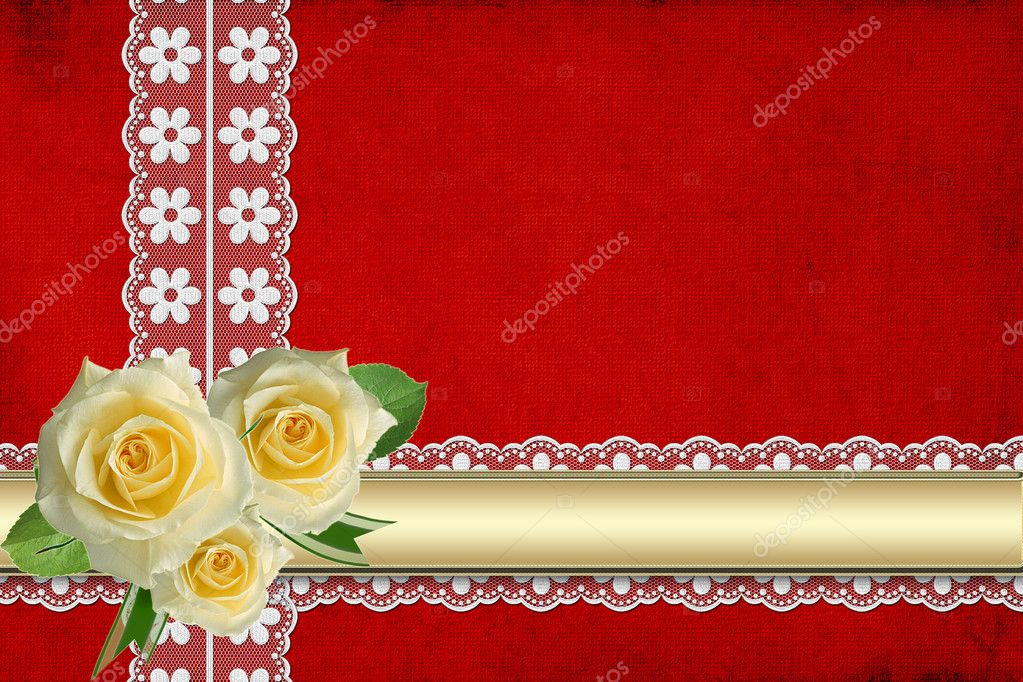 Vintage card for the invitation or congratulation with yellow rose  — Stock Photo #3492420