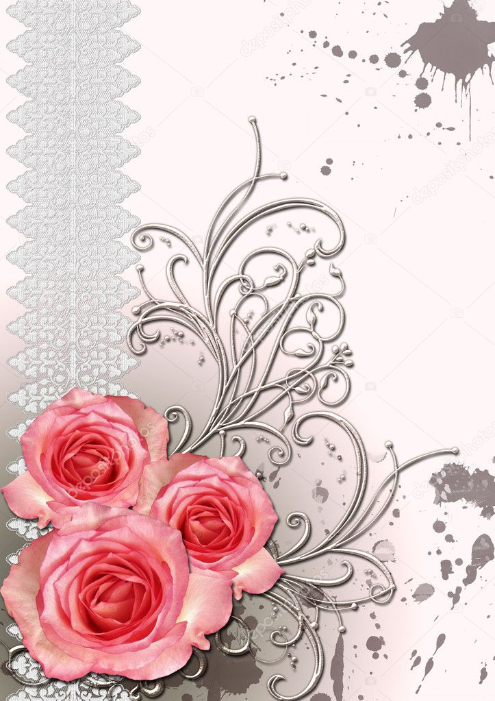 Vintage card for the invitation or congratulation with pink rose  — Stock Photo #3504250