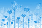 Background with hearts and bubbles on sky — Stock Photo