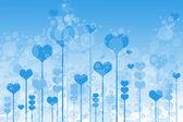 Sfondo con cuori e bolle su sky — Foto Stock