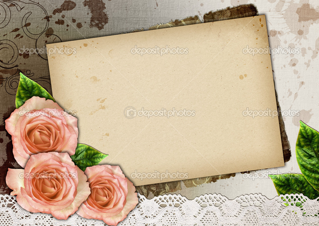 Background, floral border, wedding invitation or template with copy space  — Stock Photo #3562080