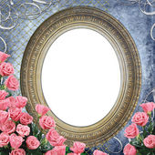 Vintage Frame for photo with roses on grunge blue backgruond — Zdjęcie stockowe