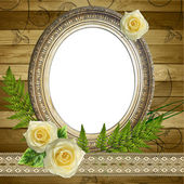 Ročník rámec pro fotografie na dřevěné backgruond — Stock fotografie