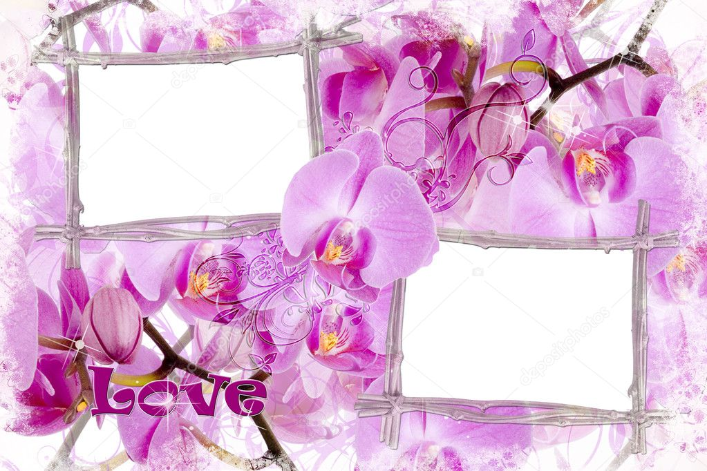 Two bamboo frames with orchids and text LOVE  — Stock Photo #3690964