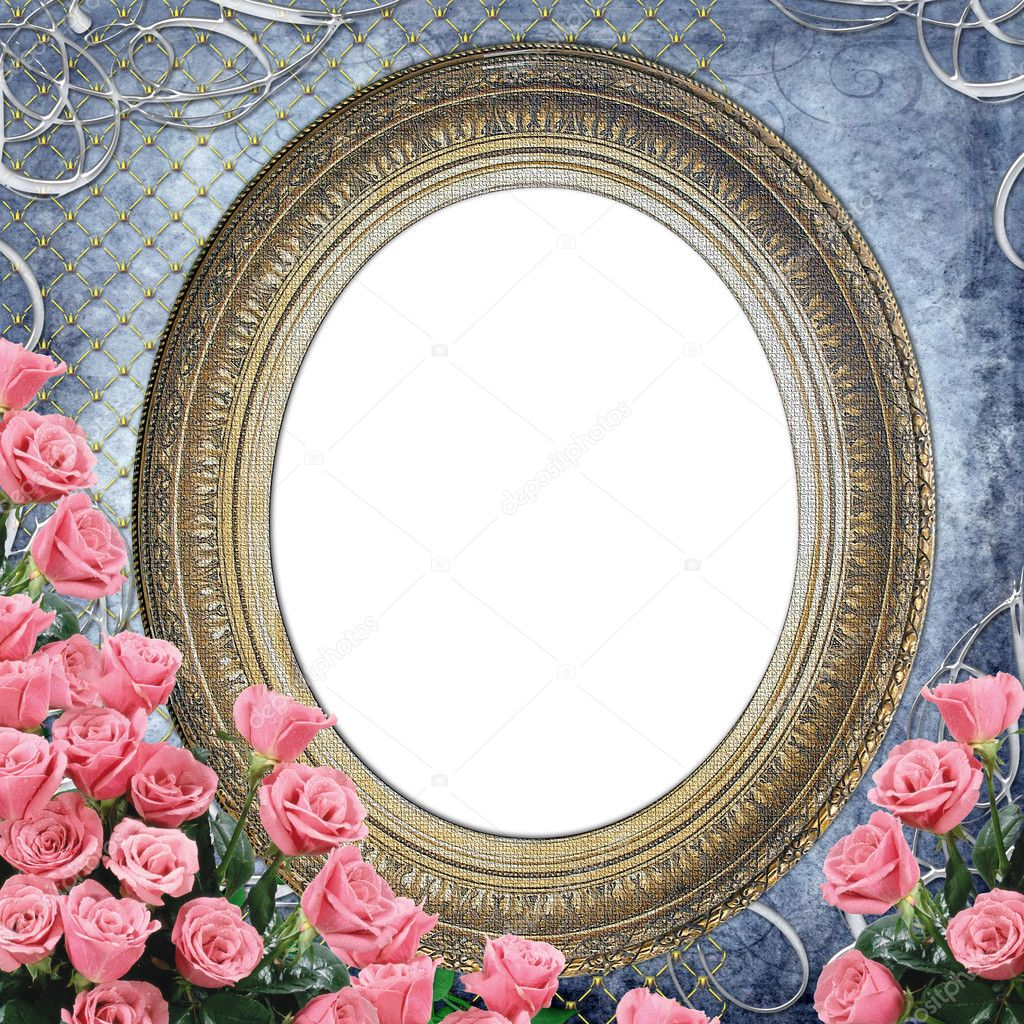 Vintage Frame for photo with  pink roses on grunge blue backgruond — Stock Photo #3691351