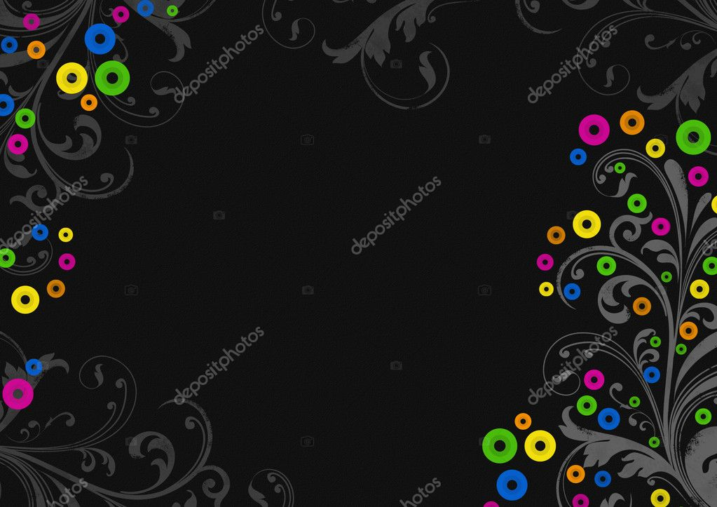 Black  background  with  colorfull circles and vegetative curls   Stock Photo #3722355