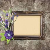 Vintage frame on grange roses background in stile scrapbooking — Stock Photo