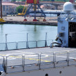 Stock Photo: Helipad of military ship