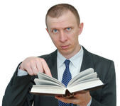 Man showing something in the book — Stock Photo