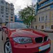 Wide-angle red car close-up — Stock Photo #3517059