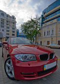 Wide-angle red car close-up — Stock Photo