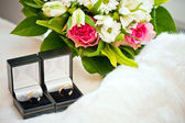 Wedding rings in the boxes — Stock Photo