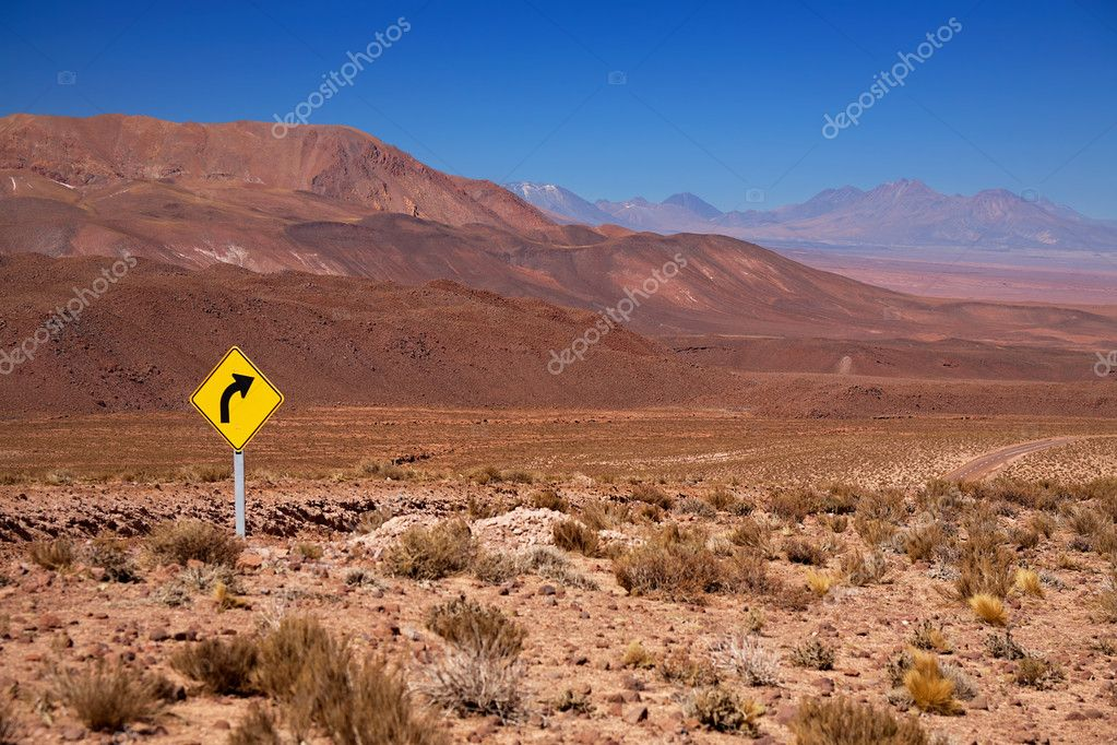Traffic sign in the desert Atacama, Chile — Stock Photo #3914022