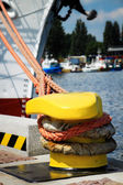 Bollard and mooring lines — Stock Photo