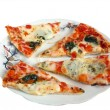Stock Photo: Slices of pizza on a plate. Isolation