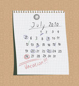 Manuscript calendar — Stock Vector